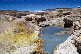 Sulphur deposits next to hot mud pools at Sol de Mañana geothermal field, Eduardo Avaroa Andean Fauna National Reserve, Bolivia