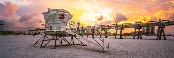 Pensacola Lifeguard Tower Five Sunrise Panorama Photo