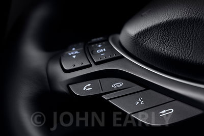 Close-Up View of Steering Wheel Controls