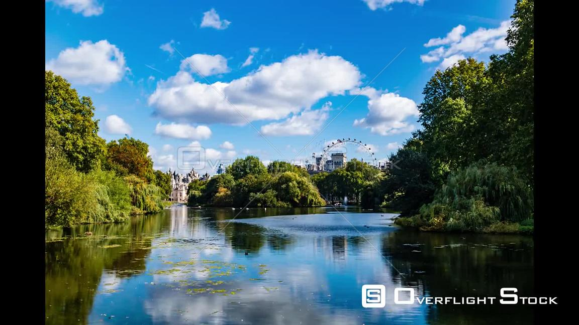 Timelapse hyper zoom view of St James park in central London