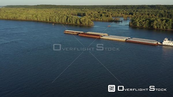 Towboat and Barges on the Mississippi River, Muscatine, Iowa, USA