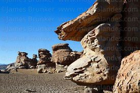 Eroded rock formations in the Siloli Desert, Eduardo Avaroa Andean Fauna National Reserve, Bolivia