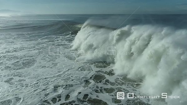 Waves Breaking Near a California Shore Drone Aerial View