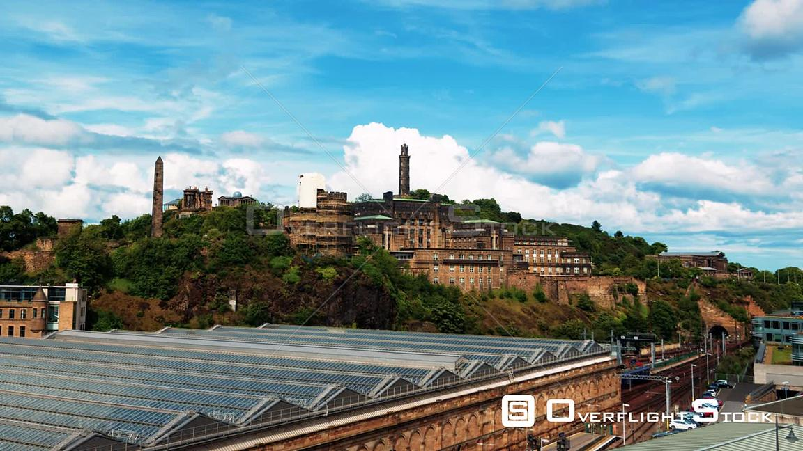 Timelapse View of Calton Hill in Edimburgh Scotland
