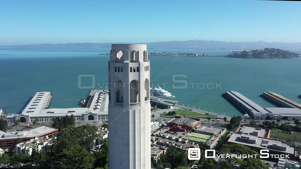 Coit Tower Telegraph Hill San Francisco Piers and Bay Bridge Drone Aerial View
