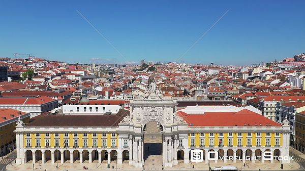 Triumphal Arch, in Praca Do Comercio, Terreiro Do Paco, in Lisbon, Empty Streets, During Covid-19 Pandemic, on a Sunny Day, P...