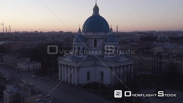 Sideway Shot at Sunset With Trinity Cathedral in the Center of the Frame. Saint Petersburg Russia Drone Video View