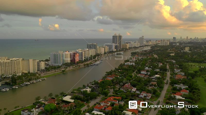 Beautiful colorful footage of Miami Beach Indian Creek 4k