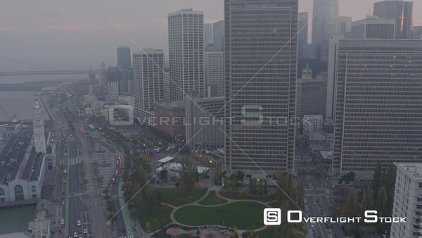 San Francisco Panning around the Financial District foggy cityscape at sunset
