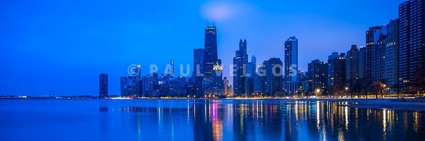 Blue Chicago Skyline at Night Panorama Photo