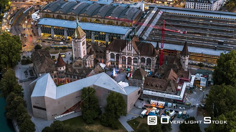 Drone Video Cityscape Main Station Zurich Switzerland