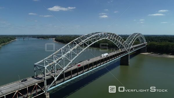 Sherman Minton Bridge Indiana to Kentucky Ohio River Crossing Louisville Drone View
