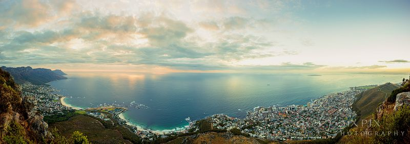 Panoramic view of Cape Town Atlantic Seaboard from Camps Bay to Clifton and Sea Point, from Lion's Head, Table Mouontain Twel...